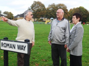 Len and Barbara discuss traffic with local resident